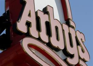 An Arby's restaurant sign is shown.