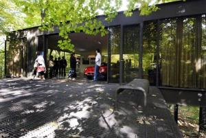 This Oct. 4, 2009 photo shows visitors touring the pavilion in the back of the modernist home in Highland Park, Ill., that was featured in the movie Ferris Bueller's Day Off.