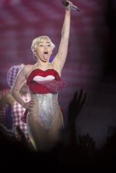 American singer Miley Cyrus performs on stage during a concert in the Telenor Arena, at Fornebu just outside Oslo, Norway, Wednesday May 28, 2014.