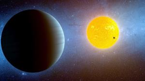 An artist's rendering of Kepler-10c and the sun it orbits.