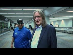 George Jung is seen at San Francisco Airport on his way to a halfway house.