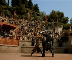 A screenshot from the official preview video for Game of Thrones Season 4, Episode 8, The Mountain and the Viper.