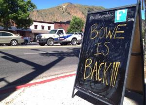 A sign celebrating the release of Sgt. Bowe Bergdahl stands on a street in the soldier's hometown of Hailey, Idaho, Wednesday.