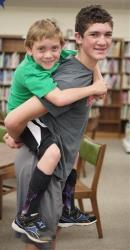 Hunter Gandee, 14, and his brother Braden Gandee, 7, Thursday, May 8, 2014.