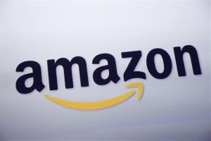 This Sept. 28, 2011 file photo shows the Amazon logo on display at a news conference in New York.