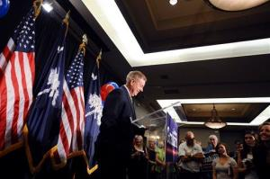 US Sen. Lindsey Graham speaks to supporters after winning the South Carolina Republican primary.
