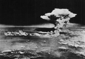 In this Aug. 6, 1945 file photo released by the U.S. Army, a mushroom cloud billows about one hour after a nuclear bomb was detonated above Hiroshima, Japan.