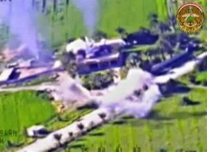 This still image from video made by the Iraqi Ministry of Defense on  shows what the ministry says are airstrikes on fighters north of Samarra in Salah al-Din province, Iraq.