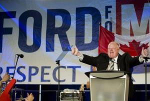 Toronto Mayor Rob Ford reacts as he speaks to his supporters during his re-election campaign launch in Toronto, on Thursday, April 17, 2014.