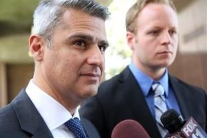 Bobby Samini, left, attorney for Donald Sterling, talks to the media outside Los Angeles Superior court Wednesday, June 11, 2014.