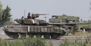 This is a file photo of a Ukrainian tank in Slovyansk.