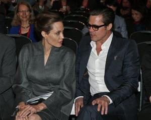 Angelina Jolie and Brad Pitt during the 'End Sexual Violence in Conflict' summit in London Friday.