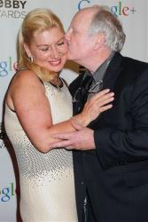 In this image released by Starpix, actor Richard Dreyfuss kisses Svetlana Erokhin at the16th Annual Webby Awards at the Hammerstein Ballroom, Monday, May 21, 2012 in New York.
