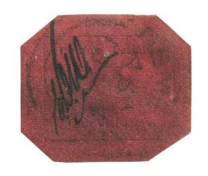 The 1-cent 1856 British Guiana stamp is shown in this photo provided Sotheby's.