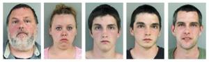 Police photos of Allan, Ashley, Brian, Damian, and Joshua Perry.
