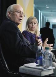 Former Vice President Dick Cheney, accompanied by his daughter Liz Cheney, in 2011.