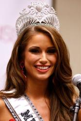 Miss USA 2014 Nia Sanchez, of Nevada, speaks during a news conference after the Miss USA 2014 pageant in Baton Rouge, La., Sunday, June 8, 2014.