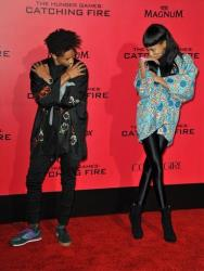 Jaden Smith, left, and Willow Smith arrive at the Los Angeles premiere of The Hunger Games: Catching Fire  at Nokia Theatre LA Live on Monday, Nov. 18, 2013.