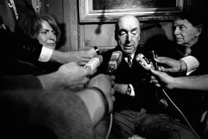 This 1971 photo shows Pablo Neruda, poet and then Chilean ambassador to France, talking with reporters in Paris after winning the Nobel Prize for Literature.