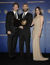 Director Tom Kuntz, center, poses with actor Matthew Morrison, left, and actress Lea Michele in the press room at the 62nd Annual DGA Awards in Los Angeles on Saturday, Jan. 30, 2010.