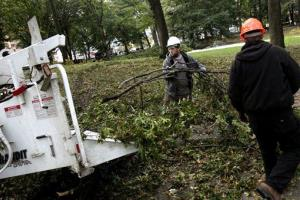 Men feed broken tree limbs into a wood chipper in New York's Central Park, Monday, Oct. 31, 2011.