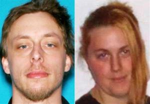 This file photo combination made with undated photos provided by the Las Vegas Metropolitan Police Department shows Jerad Miller, left, and his wife, Amanda Miller.