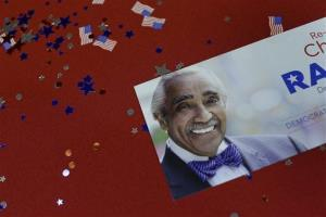Rangel campaign memorabilia lies scattered on a table during a primary election night gathering in New York.