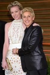 Portia de Rossi, left and Ellen DeGeneres attend the 2014 Vanity Fair Oscar Party, on Sunday, March 2, 2014, in West Hollywood, Calif.