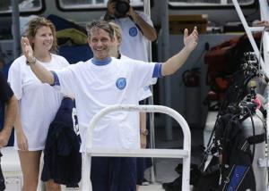 Fabien Cousteau returns to the dock after 31 days undersea in the Aquarius Reef Base in Islamorada, in the Florida Keys.