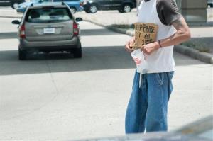A panhandler at work.
