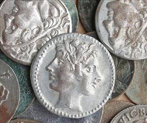 A stock image of Roman coins.