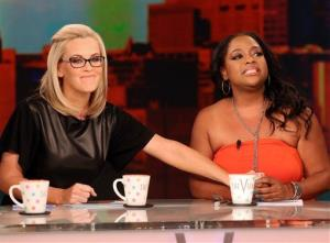 This image released by ABC shows co-hosts Jenny McCarthy, left, and Sherri Shepherd on the daytime talk show The View, in New York on Monday, July 7, 2014.