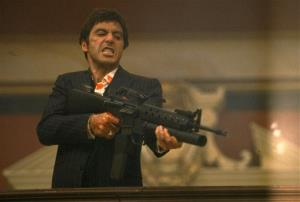 In this film image released by Universal Studios Home Entertainment, Al Pacino portrays Tony Montana in a scene from Scarface.
