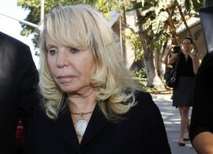 Shelly Sterling, the estranged wife of Los Angeles Clippers owner Donald Sterling, leaves a Los Angeles courthouse Monday, July 7, 2014.