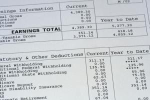 Up-close image of pay stub.