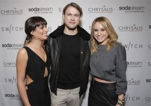 Lea Michele, Chord Overstreet, and Becca Tobin attend a fundraiser on December 14, 2013, in Los Angeles.