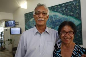 In this Wednesday, June 4, 2014 photo, Niue Premier Toke Talagi and wife Fifitaloa Talagi in Tamakautoga, Niue. Severe population decline on the tiny Pacific atoll is threatening a culture that dates back more than 1,000 years.