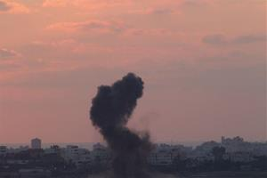 Smoke rises after an Israeli missile strike in the Gaza strip Wednesday.
