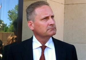Hobby Lobby President Steve Green stands outside the federal courthouse in Oklahoma City.