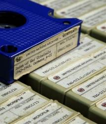 FILE - This Feb. 23, 2012, file photo shows a section of the 184 reels of microfilm of transferred documents of World War II criminals, which are kept in a locked room in a building near the U.N. complex in New York. A largely unknown archive documenting thousands of...