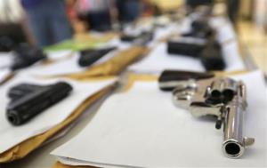 Police displayed some of the nearly 3,400 illegal firearms they have confiscated so far this year earlier this month.