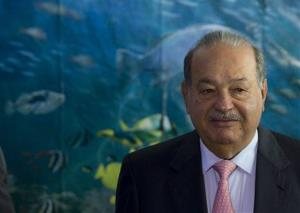 Carlos Slim arrives to inaugurate the Inbursa Aquarium in Mexico City earlier this year.