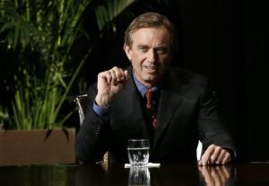 Robert F. Kennedy Jr., left, makes comments during the opening minutes of an interview with journalist Charlie Rose on Jan. 11, 2013, in Dallas.