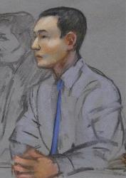 In this May 13, 2014 file courtroom sketch, Azamat Tazhayakov, a college friend of Dzhokhar Tsarnaev, sits during a hearing in federal court in Boston.