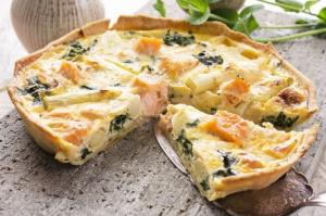 Quiche, with salmon.