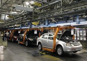In this Aug. 21, 2008, file photo, a Chevy Cobalt moves on the assembly line at the Lordstown Assembly Plant in Lordstown, Ohio.