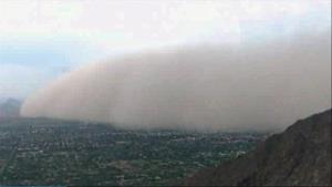 This image made from video provided by ABC15.com shows a massive dust storm over Phoenix Friday.