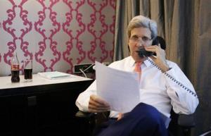 Secretary of State John Kerry talks to Israeli Prime Minister Benjamin Netanyahu on July 25 from his hotel suite in Cairo, Egypt.