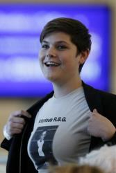 Shana Knizhnik displays a T-shirt supporting Ruth Bader Ginsburg at an event with the justice, Friday, Sept. 6, 2013, in Philadelphia.