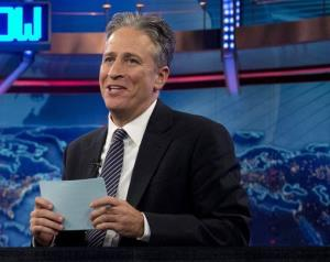 In this 2012 file photo, Jon Stewart speaks during a taping of the 'Daily Show' in New York.